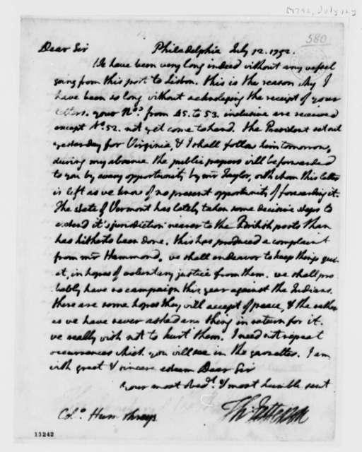 Thomas Jefferson to David Humphreys, July 12, 1792