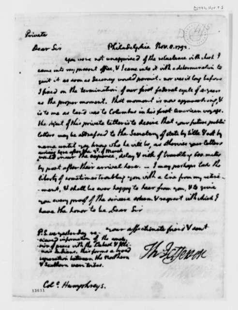 Thomas Jefferson to David Humphreys, November 8, 1792