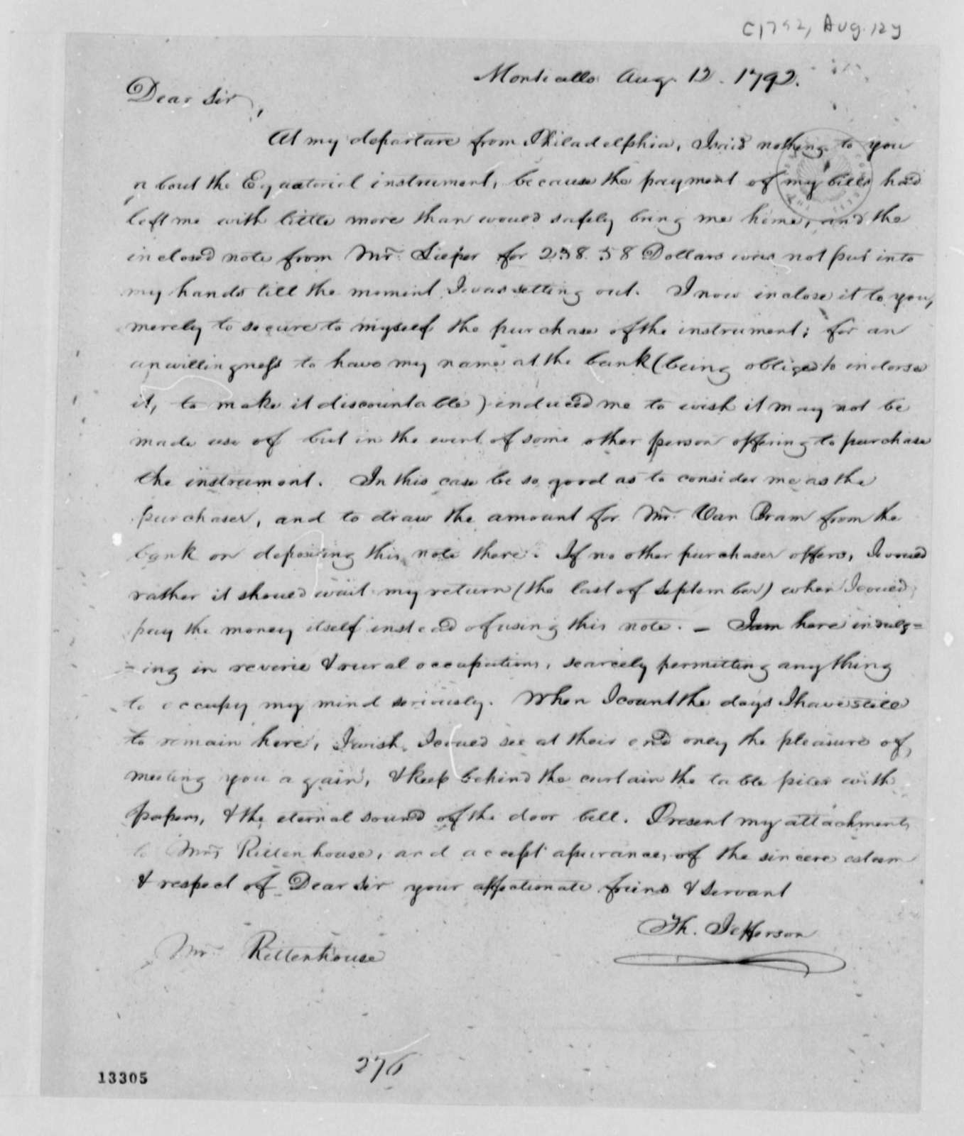 Thomas Jefferson to David Rittenhouse, August 12, 1792