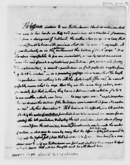 Thomas Jefferson to David Rittenhouse, June 8, 1792, with Copy