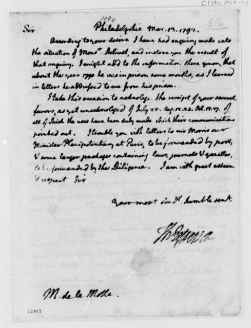 Thomas Jefferson to Delamotte, March 13, 1792