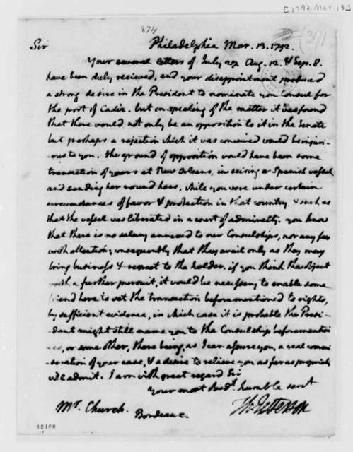 Thomas Jefferson to Edward Church, March 13, 1792