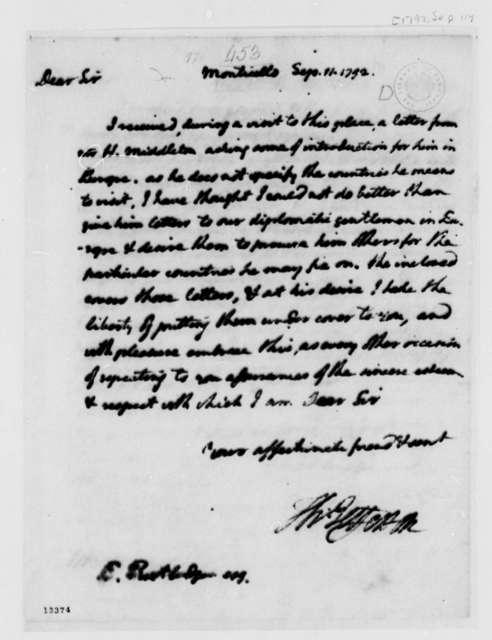 Thomas Jefferson to Edward Rutledge, September 11, 1792