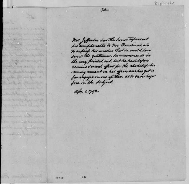 Thomas Jefferson to Elias Boudinot, April 1, 1792