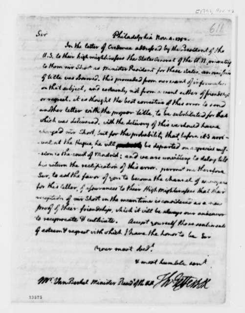 Thomas Jefferson to Franco Petrus van Berckel, November 4, 1792