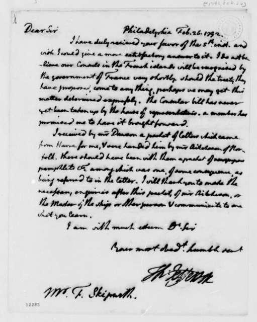 Thomas Jefferson to Fulmar Skipwith, February 26, 1792, with Copy