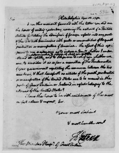 Thomas Jefferson to George Hammond, April 12, 1792