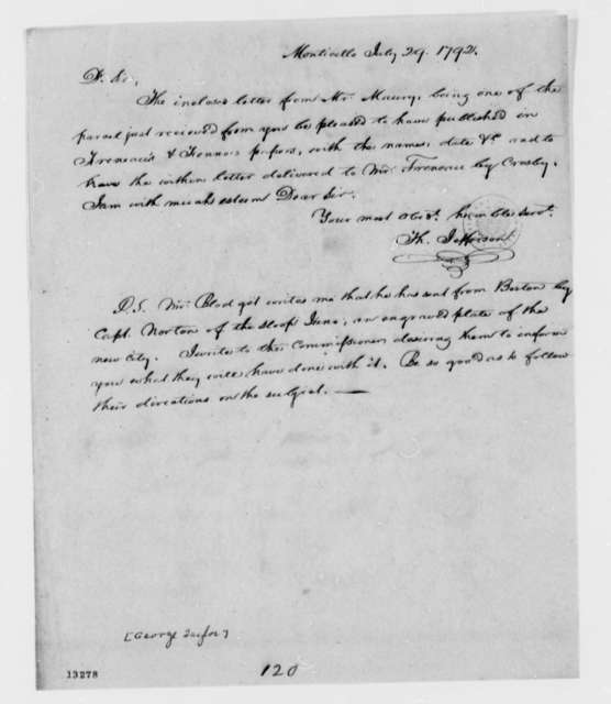 Thomas Jefferson to George Taylor, July 29, 1792