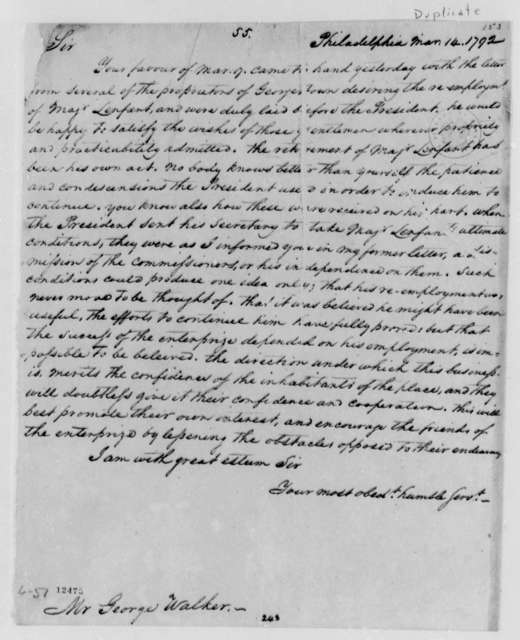Thomas Jefferson to George Walker, March 14, 1792, with Copy