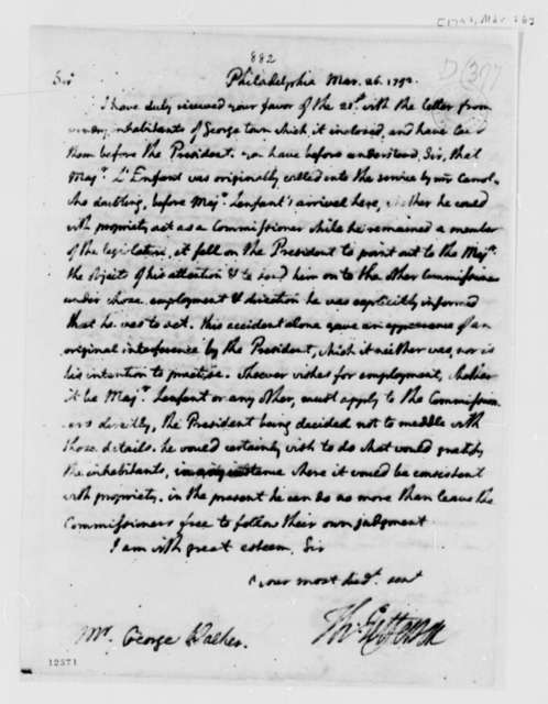 Thomas Jefferson to George Walker, March 26, 1792, with Copy