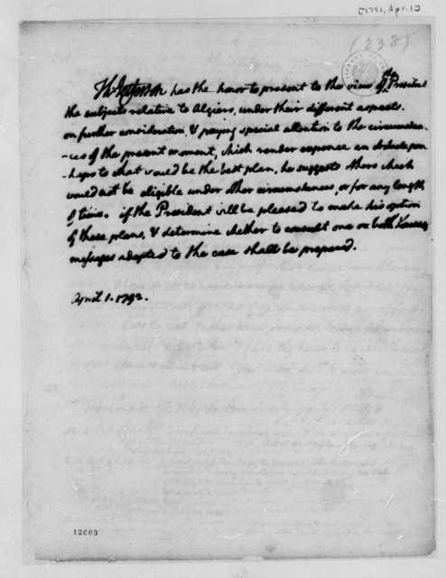 Thomas Jefferson to George Washington, April 1, 1792, Memorandum