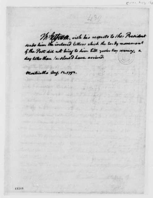 Thomas Jefferson to George Washington, August 13, 1792
