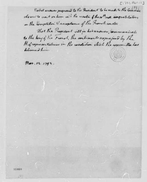 Thomas Jefferson to George Washington, March 12, 1792, Note