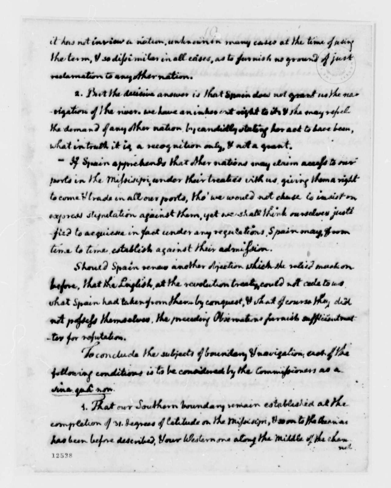 Thomas Jefferson to George Washington, March 18, 1792, Report on Negotiation with Spain; with Copy