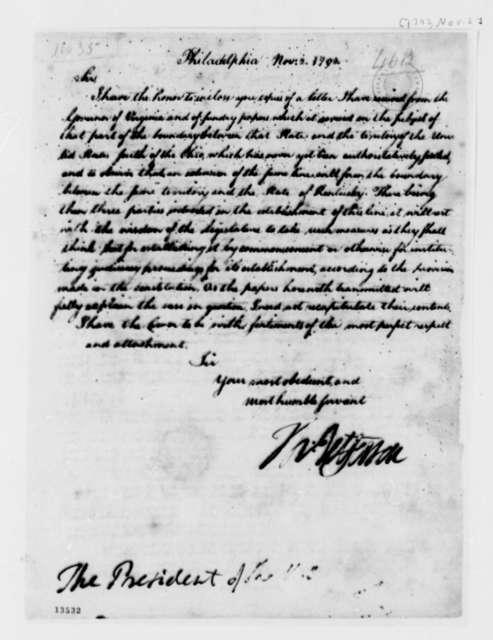 Thomas Jefferson to George Washington, November 2, 1792, Transmittal