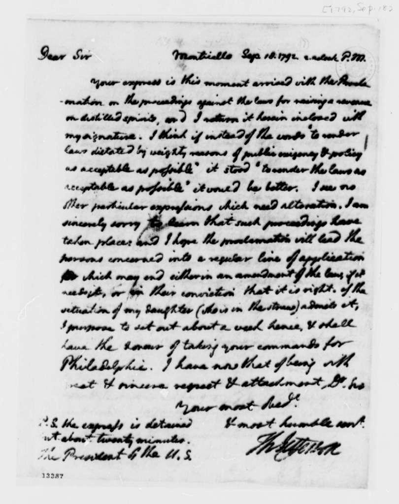 Thomas Jefferson to George Washington, September 18, 1792