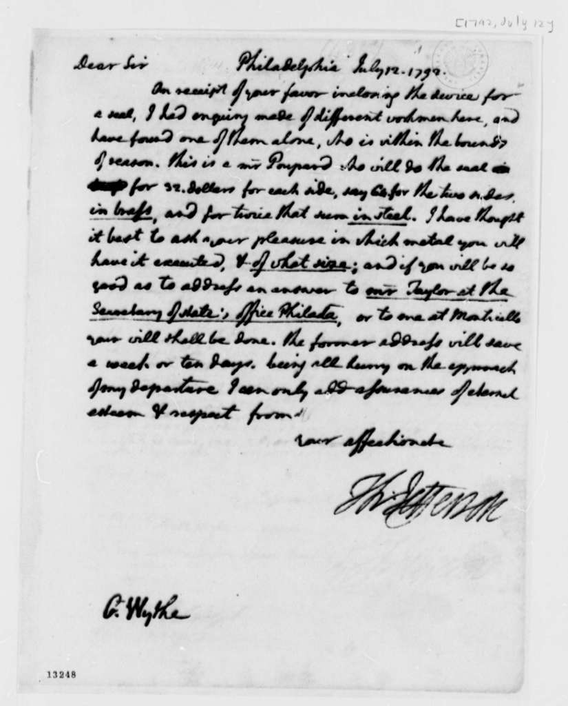 Thomas Jefferson to George Wythe, July 12, 1792, with Copy
