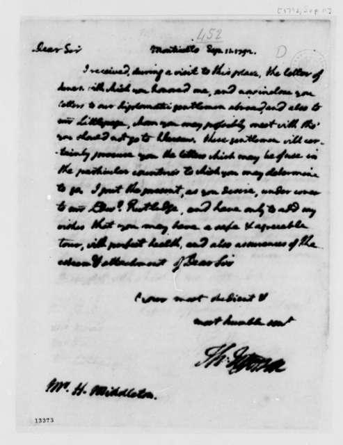 Thomas Jefferson to Henry Middleton, September 11, 1792
