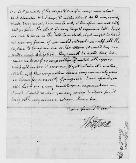 Thomas Jefferson to Henry Remsen, Jr., November 13, 1792, with Copy and Fragment