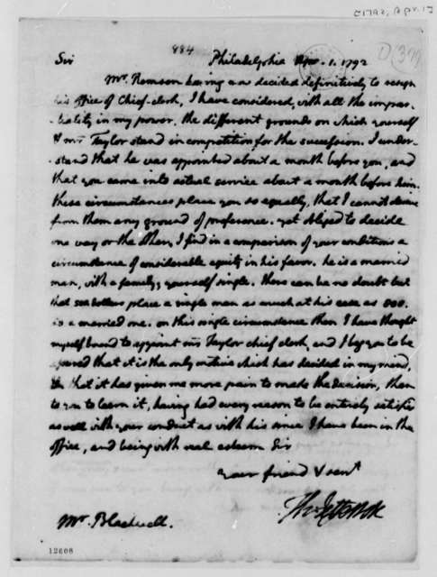 Thomas Jefferson to Jacob Blackwell, April 1, 1792, with Copy