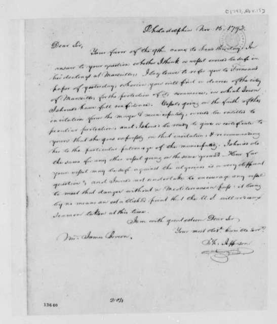Thomas Jefferson to James Brown, November 15, 1792