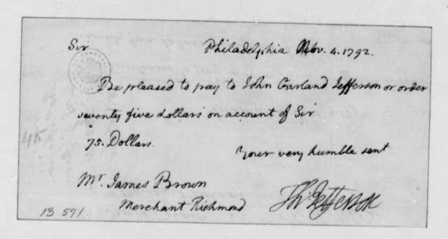 Thomas Jefferson to James Brown, November 4, 1792