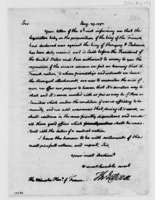 Thomas Jefferson to Jean Baptiste Ternant, August 27, 1792