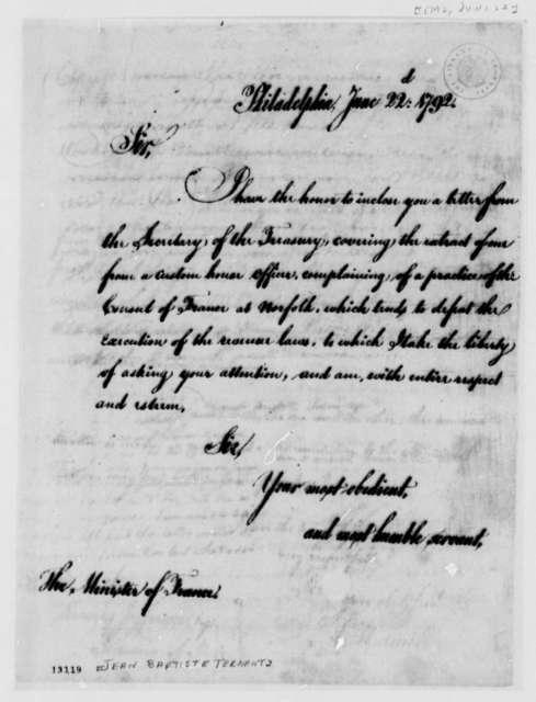 Thomas Jefferson to Jean Baptiste Ternant, June 22, 1792