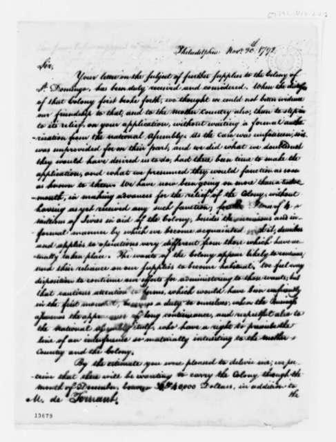 Thomas Jefferson to Jean Baptiste Ternant, November 20, 1792, with Copy