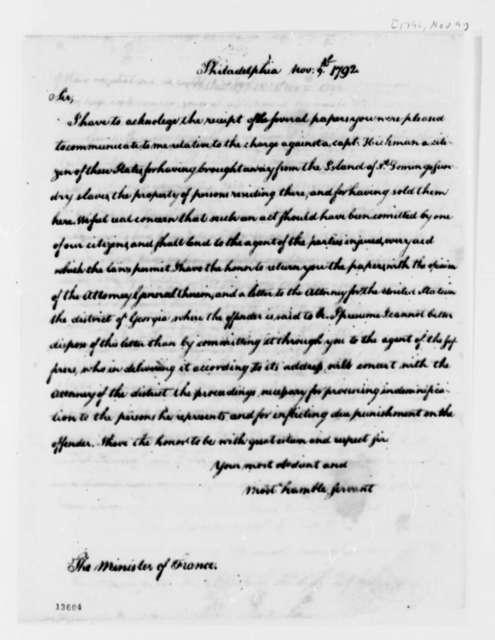 Thomas Jefferson to Jean Baptiste Ternant, November 9, 1792