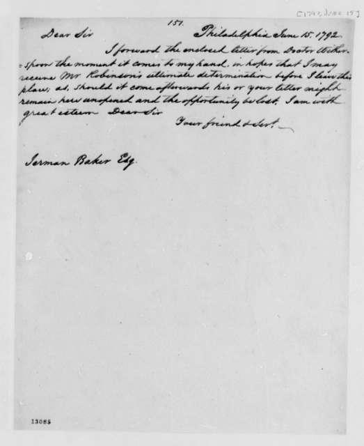 Thomas Jefferson to Jerman Baker, June 15, 1792