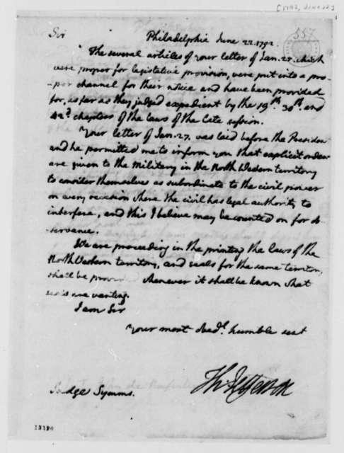 Thomas Jefferson to John Cleves Symmes, June 22, 1792