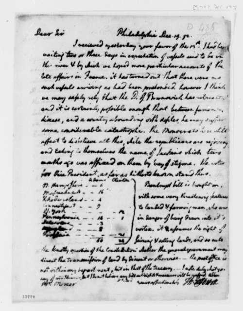 Thomas Jefferson to John F. Mercer, December 19, 1792