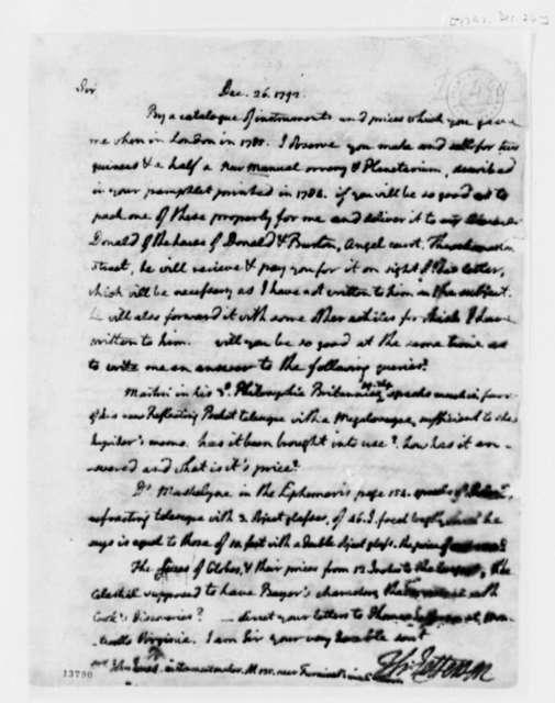Thomas Jefferson to John Jones, December 26, 1792