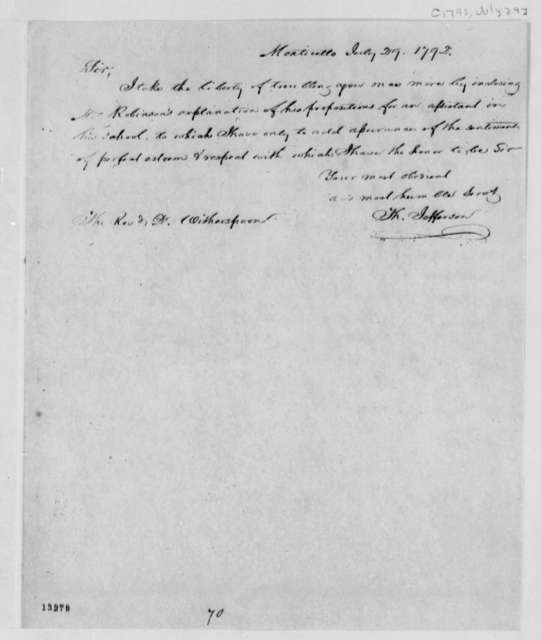 Thomas Jefferson to John Witherspoon, July 29, 1792