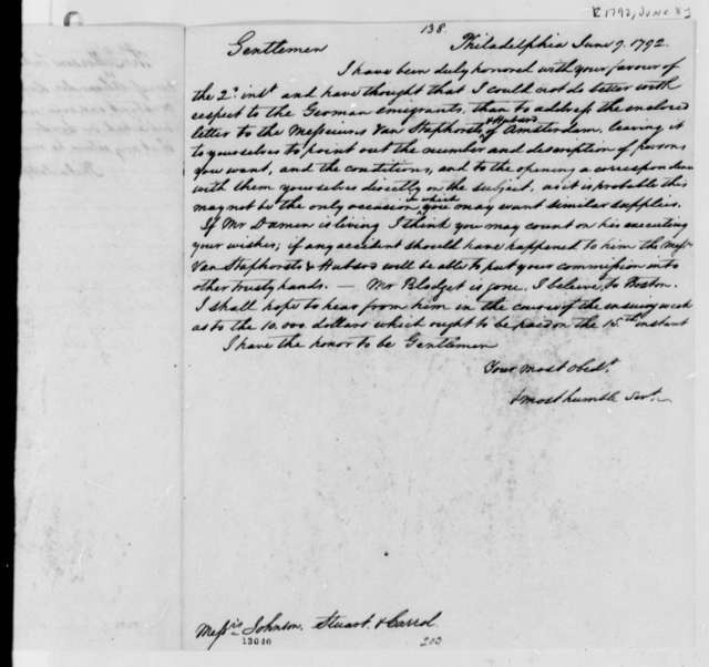 Thomas Jefferson to Johnson, Stuart and Carrol, June 8, 1792