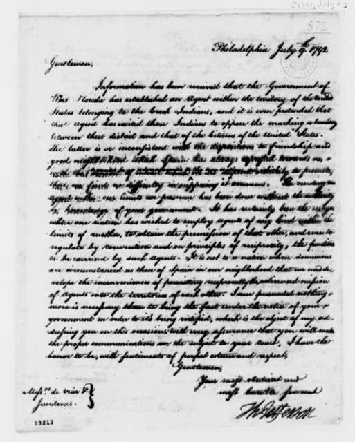 Thomas Jefferson to Josef de Viar and Josef de Jaudenes, July 9, 1792