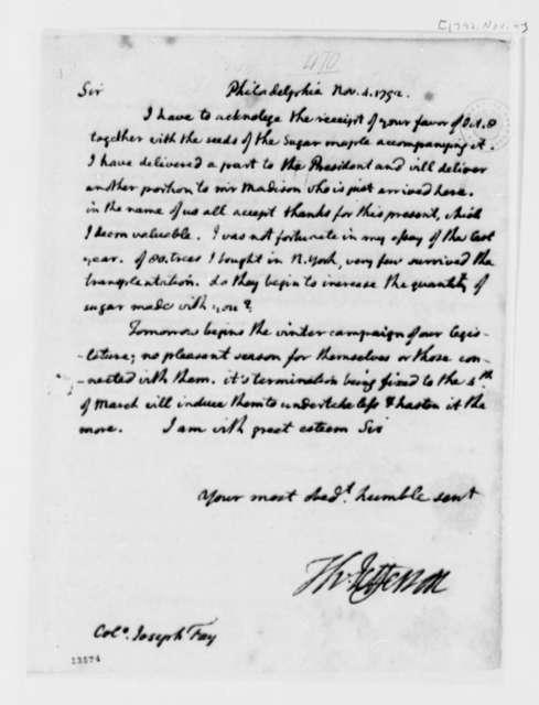 Thomas Jefferson to Joseph Fay, November 4, 1792