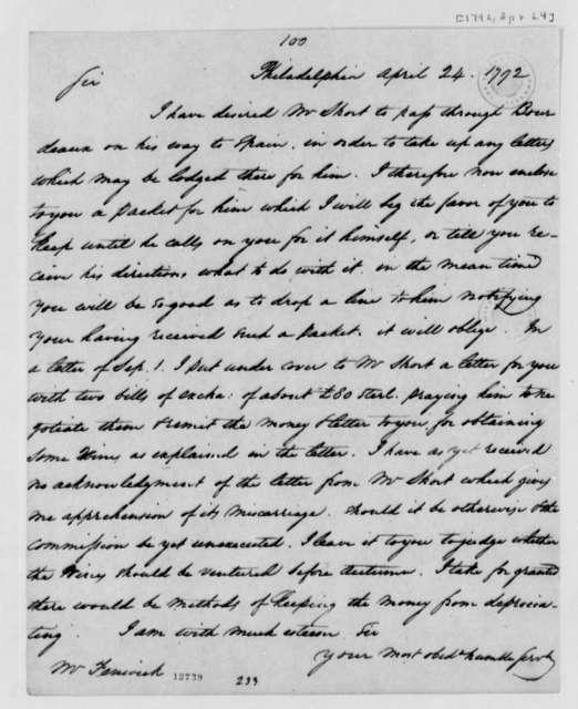 Thomas Jefferson to Joseph Fenwick, April 24, 1792