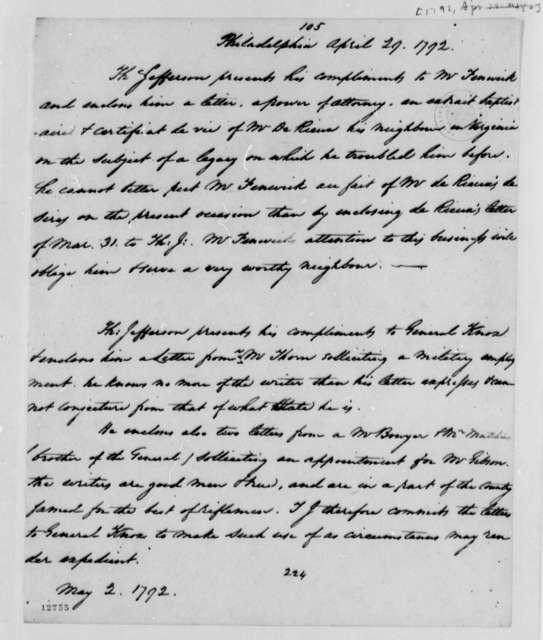 Thomas Jefferson to Joseph Fenwick, April 29, 1792