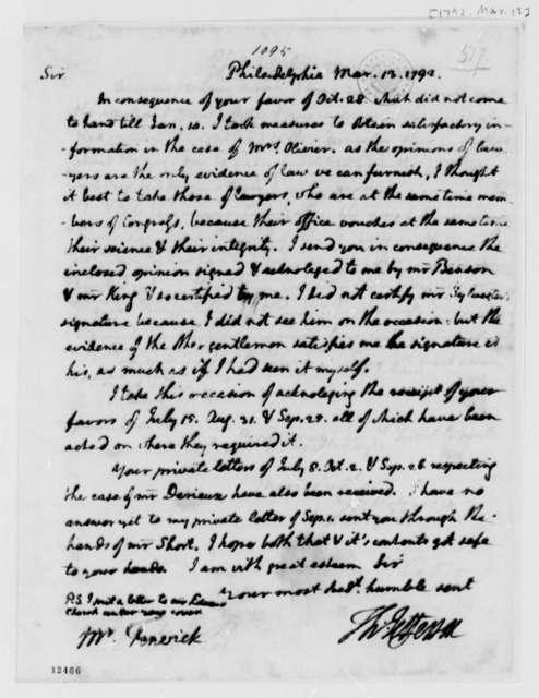 Thomas Jefferson to Joseph Fenwick, March 13, 1792