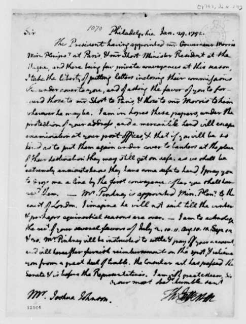 Thomas Jefferson to Joshua Johnson, January 29, 1792