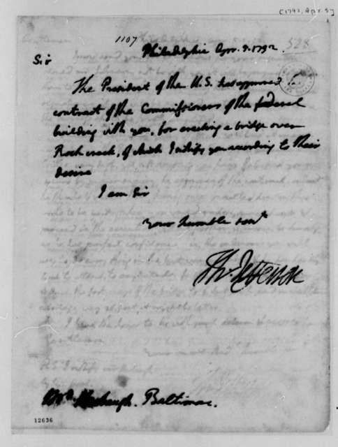 Thomas Jefferson to Leonard Herbaugh, April 5, 1792