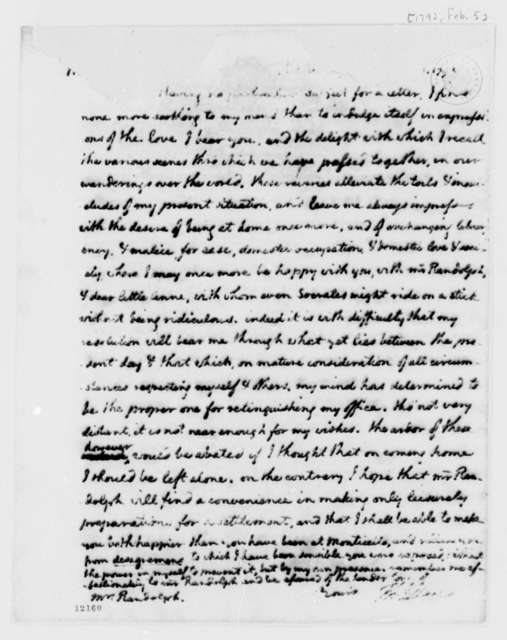 Thomas Jefferson to Martha Jefferson Randolph, February 5, 1792