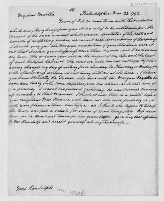 Thomas Jefferson to Martha Jefferson Randolph, March 22, 1792