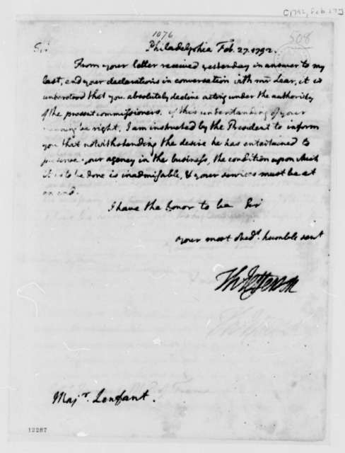 Thomas Jefferson to Peter Charles L'Enfant, February 27, 1792