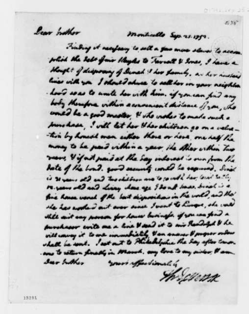 Thomas Jefferson to Randolph Jefferson, September 25, 1792
