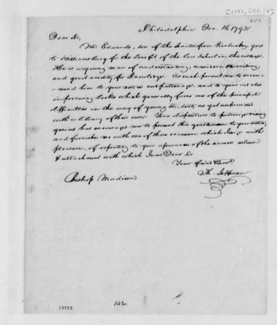 Thomas Jefferson to Reverend James Madison, December 16, 1792