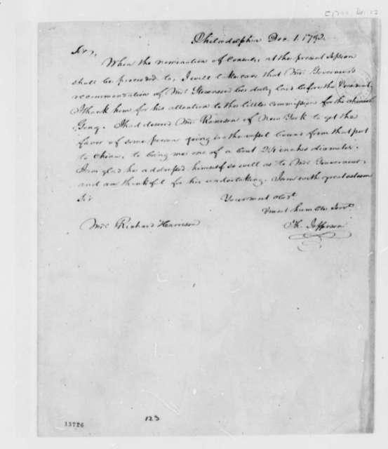 Thomas Jefferson to Richard Harrison, December 1, 1792