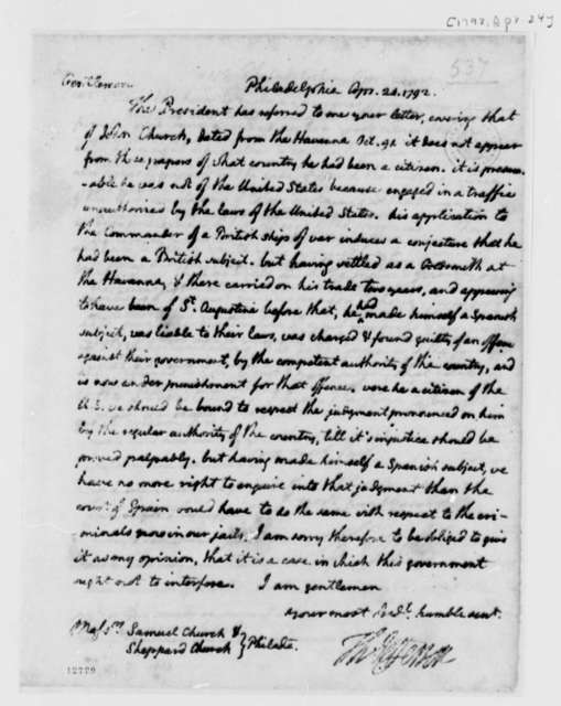 Thomas Jefferson to Samuel Church and Sheppard Church, April 24, 1792